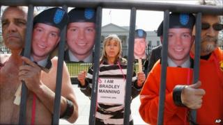 Bradley Manning campaigners at the US White House