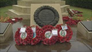 Wreaths at Manchester cenotaph