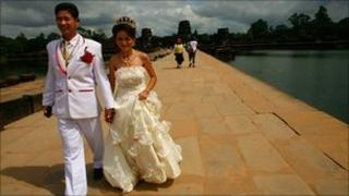 A couple married in Cambodia