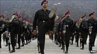 Indian police passing-out parade at near Srinagar on 13 January 2011