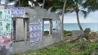 Sri Lankan house destroyed by the 2004 tsunami