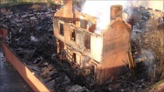 Scene of scrap yard fire