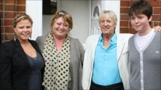 Liz Cassells and family with Joe Longthorne at the opening