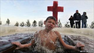 A boy in the Ukraine celebrates Orthodox Epiphany - January 2010