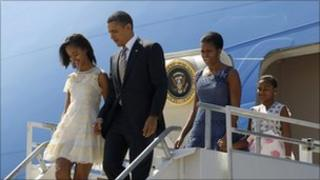 President Obama and his family arrive in Santiago