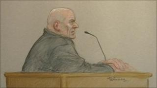 Court sketch of John Sweeney