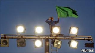 Gaddafi supporter in Tripoli (21/03)