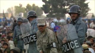 Police at Helmand concert