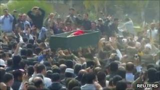 Funeral procession for a protester killed in Deraa on 20 March (Frame grab from video)