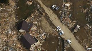 An earthquake and tsunami devastated area