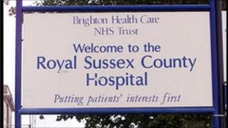 A Royal Sussex County Hospital sign