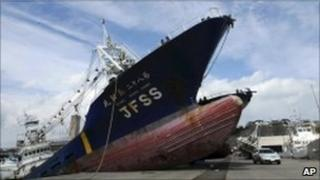 Ship washed ashore in Japan