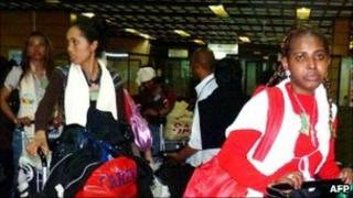 Some of the maids arriving in Antananarivo airport