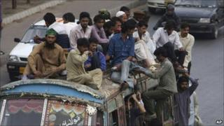 Bus in a Karachi street during a transport strike in March 2011