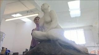 Georgina Baker with the statue