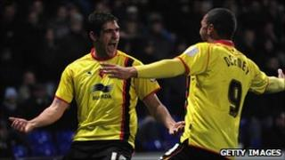Danny Graham celebrates a goal for Watford during a match against Ipswich Town