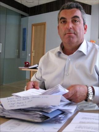 Antonio Barroso at the office of Anadir, an association set-up to support suspected victims of alleged baby trade