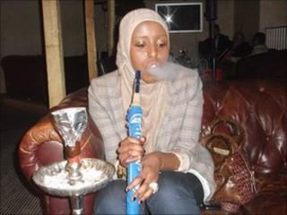 Layla Ibrahim, 23, enjoying a shisha smoke