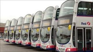 Row of FirstGroup buses