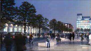 Artist's impression of new forecourt at Cambridge station