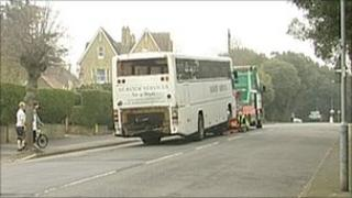 The coach being towed away from the scene of the crash in Victoria Grove