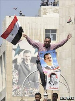 A pro-government protester in Damascus, 29 March 2011