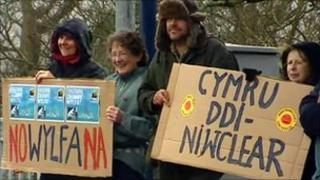Pawb campaigners protest at Menai bridge, Anglesey