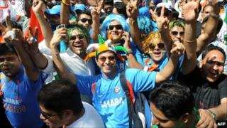 Indian cricket fans at the semi-final