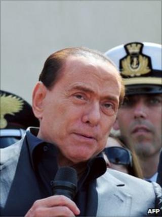 Italian PM Silvio Berlusconi in Lampedusa(30 March 2011)