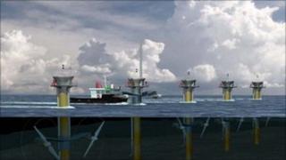 A Sea Gen tidal turbine