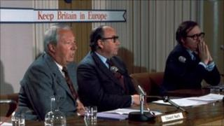 Edward Heath, Roy Jenkins and Lord Harris at a press conference during the 1975 referendum campaign