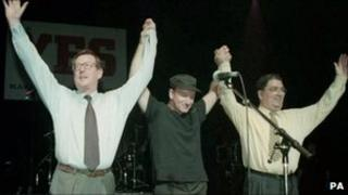 Singer Bono (middle) with David Trimble (left) and John Hume (right) at a concert backing a yes vote in the 1998 referendum on the Good Friday agreement