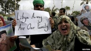 Residents of Tripoli demonstrating in support of Col Muammar Gaddafi - 31 March 2011