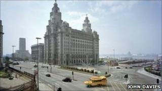 Memorial to the Blitz and Liver Building, Liverpool. photo © John Davies2003