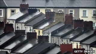 Terraced houses in Newport, south Wales