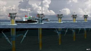 Artist's impression of SeaGen turbines