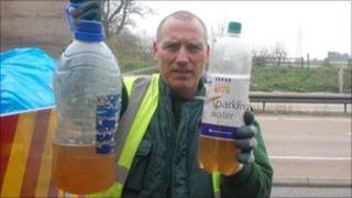 Plastic bottles on the A14