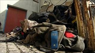 Fire-damaged costumes at Flame Torbay Costume Hire