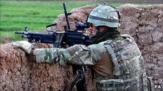 Soldier in action in Helmand province