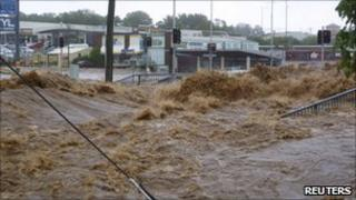 A street is covered by a flash flood in Toowoomba, Queensland