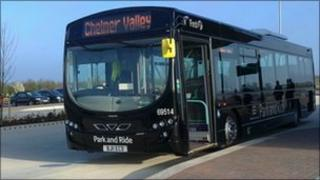 One of the buses at the Chelmer Valley Park and Ride