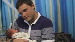 Pte Daniel Prior with his son Logan