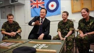 David Cameron meeting RAF crew at Gioia del Colle on 4 April 2011