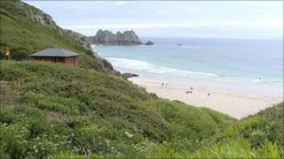 Porthcurno beach in west Cornwall Pic: Colin Ward