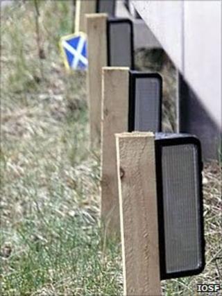 Reflectors alongside a road barrier. Pic: IOSF