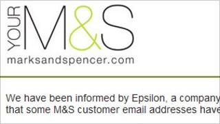 Screengrab of Marks and Spencer email