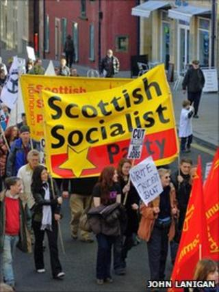 Members of the Scottish Socialist Party on a protest march in Edinburgh in 2010