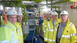Stirling Council members see the gas engine working at Lower Polmaise