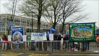 Teachers outside the school on Thursday