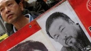 """""""Release Ai Weiwei"""" protests at China Liaison Office Hong Kong April 5, 2011"""